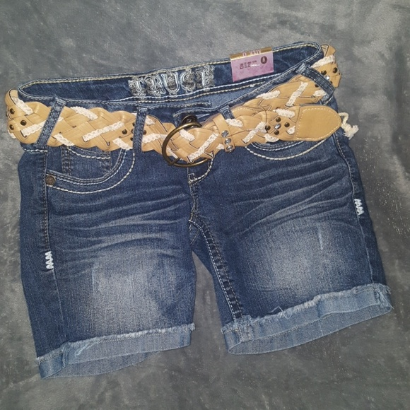 TRUCE Pants - TRUCE CUFFED FESTIVAL JEAN SHORTS NEW BELT